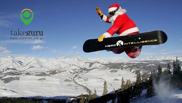 Santa go snowboarding
